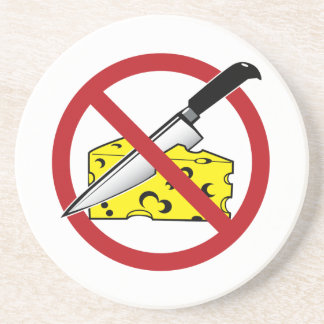 No Cheese Cutting Zone Beverage Coasters