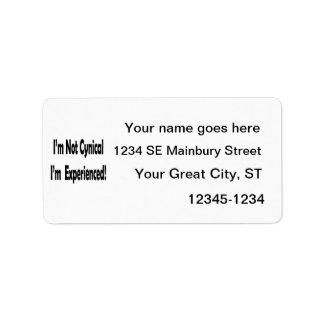no cínico me experimentan en negro etiqueta de dirección
