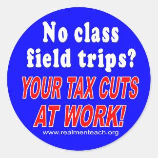 No class field trips (blue) round stickers