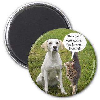 No cocinan perros aquí imán redondo 5 cm