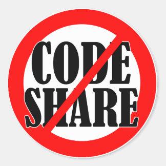 No Codeshare! Classic Round Sticker