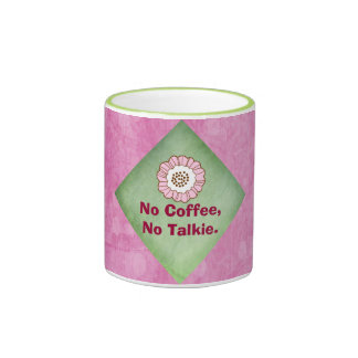 No Coffee No Talkie in Pink and Green Ringer Mug