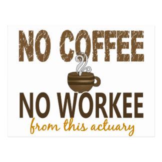 No Coffee No Workee Actuary Postcard