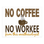 No Coffee No Workee Anesthesiologist Post Cards