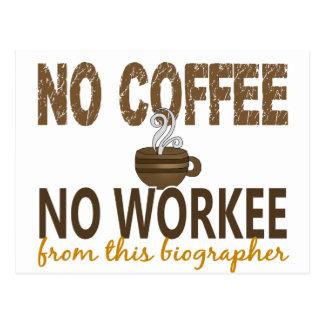 No Coffee No Workee Biographer Postcard