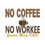 No Coffee No Workee CEO Postcard