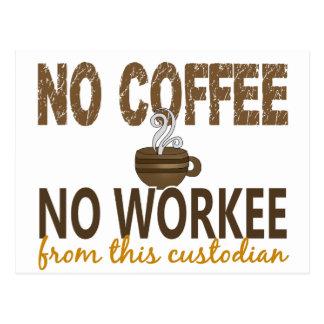 No Coffee No Workee Custodian Post Card
