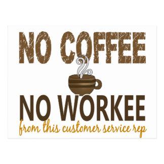 No Coffee No Workee Customer Service Rep Postcard