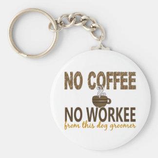 No Coffee No Workee Dog Groomer Basic Round Button Keychain