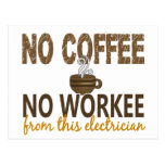 No Coffee No Workee Electrician Postcard