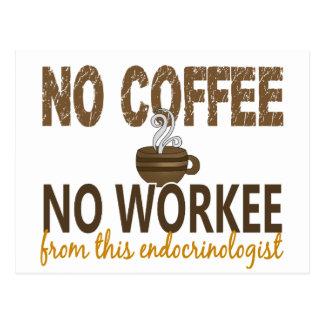 No Coffee No Workee Endocrinologist Postcard