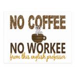No Coffee No Workee English Professor Postcard
