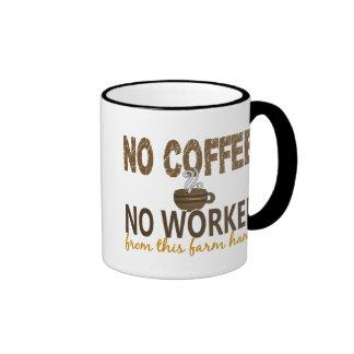 No Coffee No Workee Farm Hand Ringer Coffee Mug