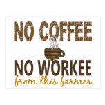 No Coffee No Workee Farmer Post Card