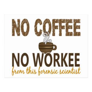 No Coffee No Workee Forensic Scientist Postcard