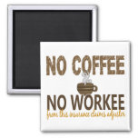No Coffee No Workee Insurance Claims Adjuster 2 Inch Square Magnet