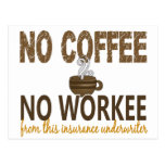 No Coffee No Workee Insurance Underwriter Post Card