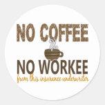 No Coffee No Workee Insurance Underwriter Round Sticker