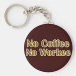 No Coffee No Workee Keychains