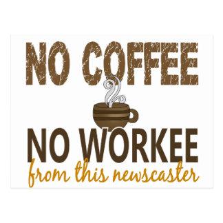 No Coffee No Workee Newscaster Postcard