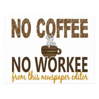 No Coffee No Workee Newspaper Editor Postcard