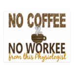 No Coffee No Workee Physiologist Post Card