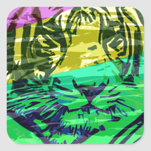 No colorea ningún león pegatina cuadrada
