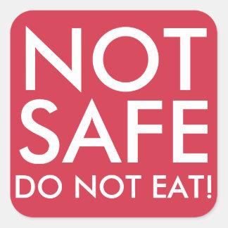 NO COMA a los pegatinas no seguros de la comida Pegatina Cuadrada