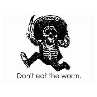 No coma el esqueleto del mexicano del gusano tarjeta postal