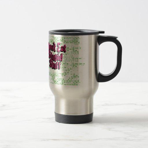 No coma la materia estúpida en rosa y verde tazas de café