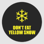 No coma la nieve amarilla etiquetas redondas