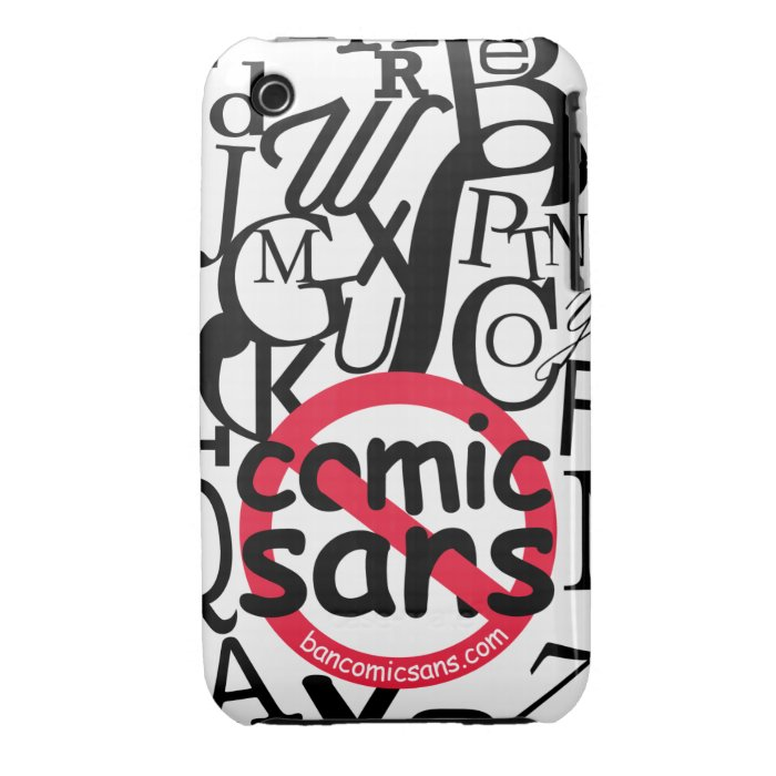 No Comic Sans Typography iPhone 3 Case