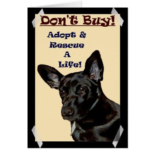 ¡No compre! ¡Adopte y rescate una vida! Tarjeta De Felicitación