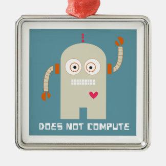 No computa adorno cuadrado plateado