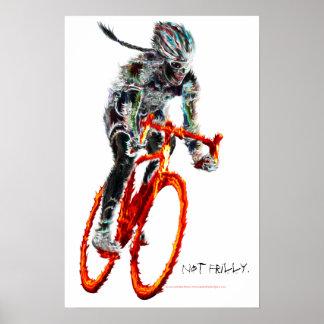 No con volantes.  Ciclista y llamas femeninos Póster