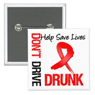 No conduzca bebido - ayude a ahorrar vidas pin cuadrado