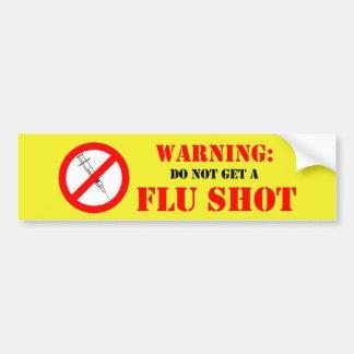 No consiga una vacuna contra la gripe etiqueta de parachoque