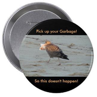 No contamine en el botón de las playas pin redondo de 4 pulgadas