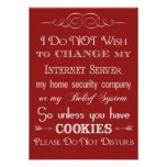 No Cookies, Do Not Disturb Red Poster