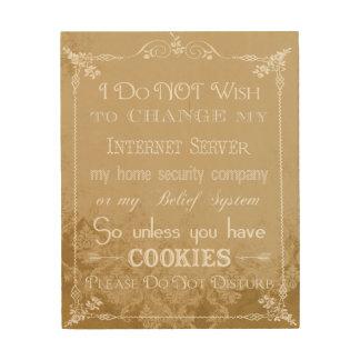 No Cookies, Don't Disturb Tan Damask Sign Art