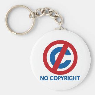 No Copyright Basic Round Button Keychain