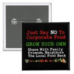 No Corporate Food 2 Inch Square Button