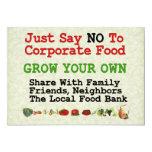 "No Corporate Food 5"" X 7"" Invitation Card"