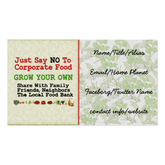 No Corporate Food Double-Sided Standard Business Cards (Pack Of 100)