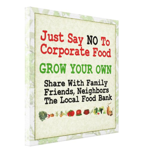 No Corporate Food Gallery Wrapped Canvas