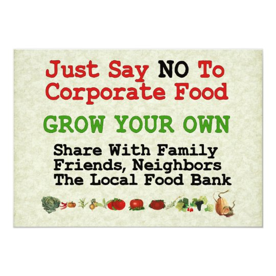 No Corporate Food Card