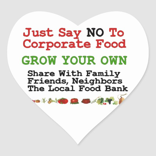 No Corporate Food Heart Sticker