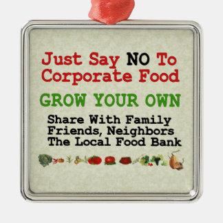 No Corporate Food Square Metal Christmas Ornament