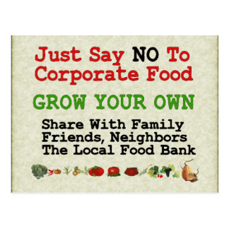 No Corporate Food Postcard