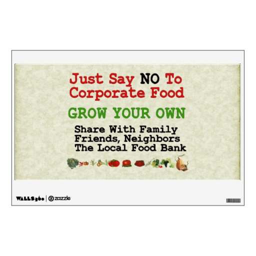 No Corporate Food Room Sticker